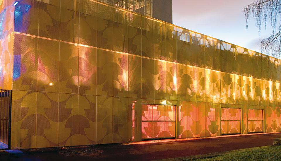 Maison du Portugal - Precision perforated aluminium cladding has been used to create a translucent 'veil'