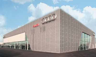 Perforated and anodised aluminium sheets used for Audi Terminal in Bitterfeld