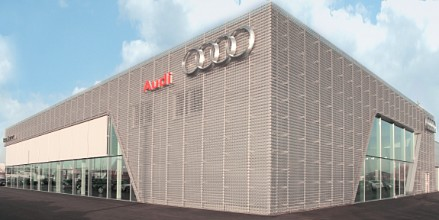 Perforated sheets used for facade for Audi Terminal
