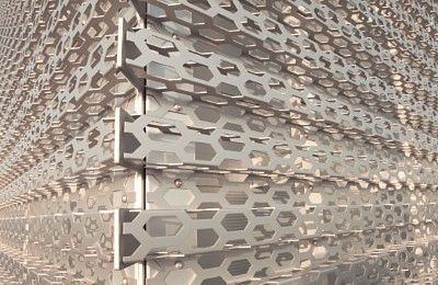 Aluminium used for perforated facade for Audi Terminal - Bitterfeld, Germany