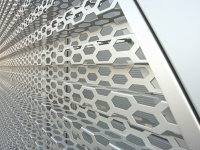 Perforated anodised aluminium sheets from RMIG used for Audi Terminal