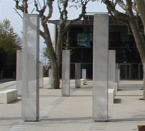 RMIG Expanded Metal used for light columns outside Spectacle Hall, France
