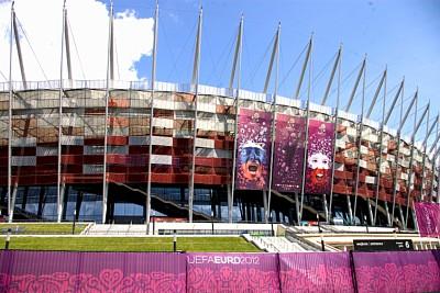 RMIG Siatka cięto-ciągniona użyta na fasadę Stadionu Narodowego, Warszawa