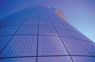 Perforated anodised aluminium sheets from RMIG used for facade