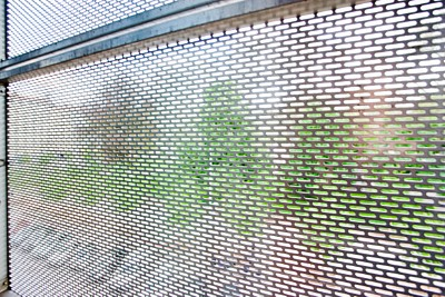 Perforated sun screens in stainless steel