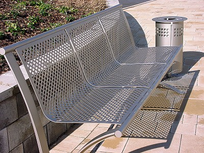Perforated bench and litter basket