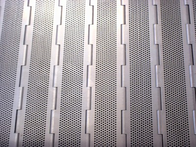 Perforated sheets from RMIG used for conveyor slats
